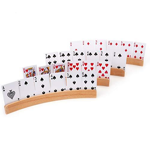 Tebery Wooden Playing Card Holder | Rack | Organizer Tray Racks Organizer for Kids Seniors Adults (Set of 2)
