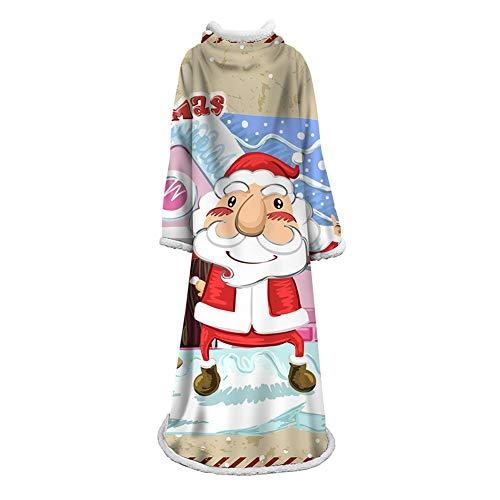 FUFU Mantas y mantitas Manta Fleece felpa con mangas, Manta Navidad suave, cálido, acogedor, reversible de microfibra paño grueso y suave manta usable Cabina del invierno Throw Tema de vacaciones Mant