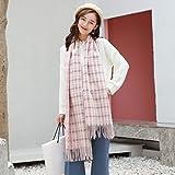 zami bufanda femenina otoño e invierno estudiante chal grande grueso sección larga cálida bufanda-azul rosa
