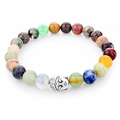 CLEARNICE Pulseras de Piedra Natural con Cuentas Multicolores de 8 Mm para Mujeres, niñas, Buda, Hombres, Pulsera de joyería Boho