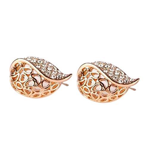 Las mujeres pedrería Leafbud oído de la forma de las mujeres diseño hueco diamantes de imitación del perno prisionero del corazón del pendiente del oído Pin niñas joyerías Cumpleaños Recuerdos