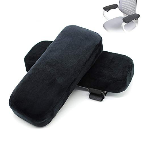 Chair Armrest Cover Memory Foam, Ergonomic Armrest Elbow Pillows. Comfy Offices, Homes, Wheelchairs and Games Pressure Relief Armrest Pads. Thickened (2 Pieces) Noble Black