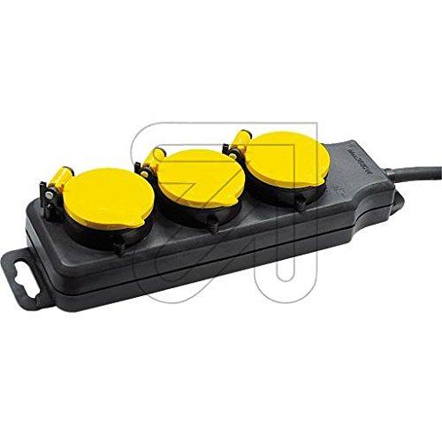 Regleta de enchufes IP44, triple, negro/amarillo