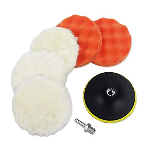 7pcs 6 inch Polishing Pads,Sponge and Woolen Polishing Waxing Buffing Pads Kits with M14 Drill Adapter