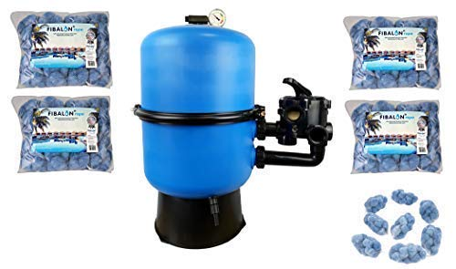 well2wellness Pool Sandfilter Behälter Sandy.Split 2-geteilt Ø 500 mm mit 6-Wege-Ventil Plus 4 x 350g Filtermaterial Fibalon Rope