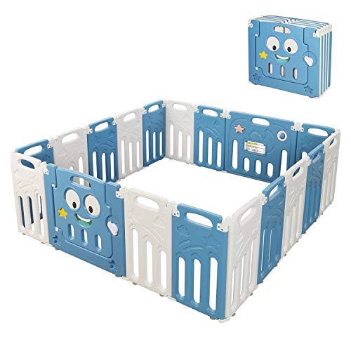 Moromuu Foldable Baby Playpen, 18 Panel, Kids Safety Play Yard with Activity Wall and Lock Gate, Large Activity Centre for Baby Boys Girls Toddlers, Portable Design for Indoor Outdoor Use (Blue+White)