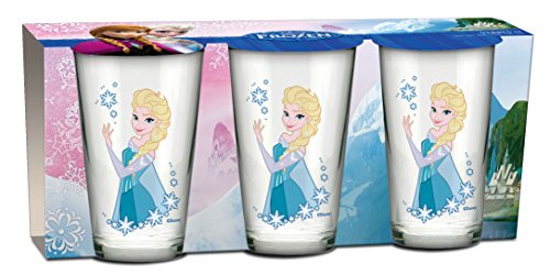 """BETA SERVICE EL50867 Die Eiskönigin Frozen """"Elsa"""" Gläser, 3-er Set, glas, bunt, 15 x 25 x 12 cm"""