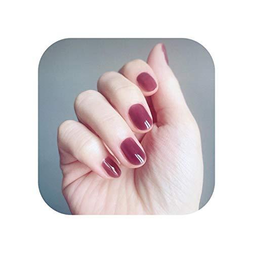 24 STÜCKE/SET Gelee Hell Lila Runde Form Rein Kurz Kurznagel Wasserdicht Acryl Fingernagelpresse Nail Art Tipps JP823-Y1-B1-JP823-Y1-B1 Long-