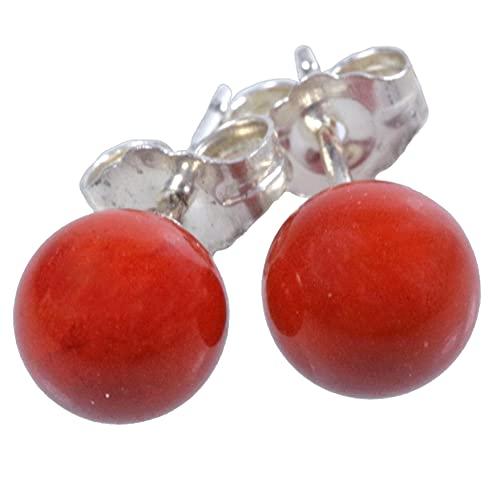 Pendientes de jaspe rojo de 6 mm en plata 925