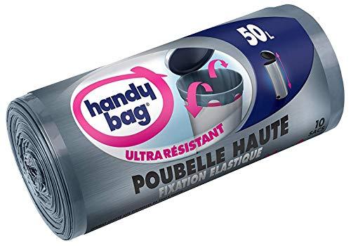 Handy Bag Rouleau de 10 sacs à ordures 50 L, Pour bacs hauts, Fixation élastique, Ultra résistant, Étanche, 47 x 85 cm, Gris foncé, Opaque