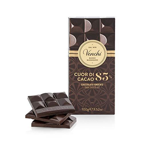 Venchi Tavoletta di Cioccolato Fondente 85% Cuor di Cacao 100g - Cioccolato Fondente Centro Sud America - Senza Glutine