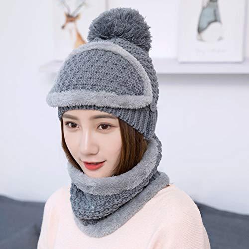 Honey WYJ Hat slabbetmasker afdekkap plus fleece cap schattige en aantrekkelijke dames buiten warme herfst en winter gebreide muts
