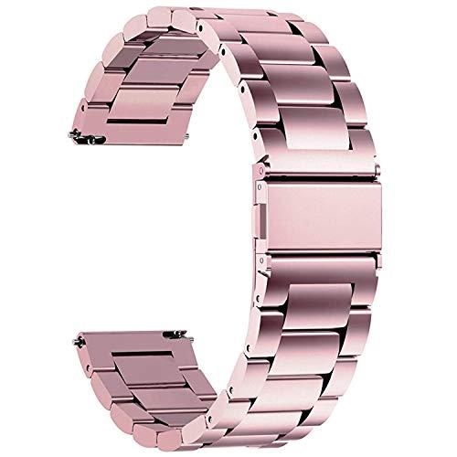 Fullmosa 4 Colores para Correa Metálica de Reloj de Liberación Rápida, Pulsera Reloj de Acero Inoxidable, Rosa 18mm
