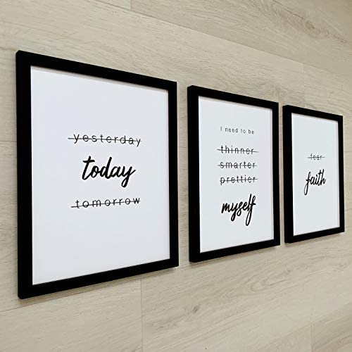 Framed Motivational Wall Art 8 x 10 Set of 3 Positive Affirmations Wall Decor Quotes Wall Art product image