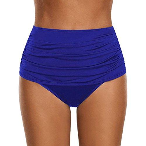 OverDose Damen Plus Größe Badehose Frauen hoch taillierte Badehose Geraffte Bikini Hosen Schwimmen Shorts Swim Shorts (Blau,M)