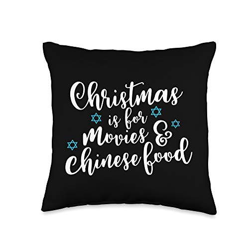 Funny Jewish Gifts Funny Hanukkah Gift Jewish Christmas Chinese Food Throw Pillow, 16x16, Multicolor