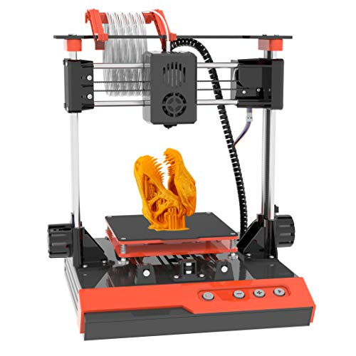 """Small 3D Printer for Kids, Mini 3D Printer with Free Testing PLA Filament, Easy Assembly Fast Heating Low Noise, Printing Size 4""""*4""""*4"""", Black & Orange"""