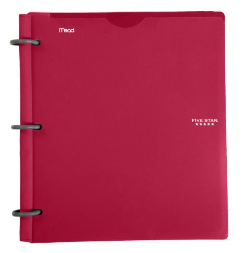 Five Star Flex Hybrid NoteBinder, 1 Inch Binder with Tabs, Notebook and 3 Ring Binder All-in-One, Red (72349)