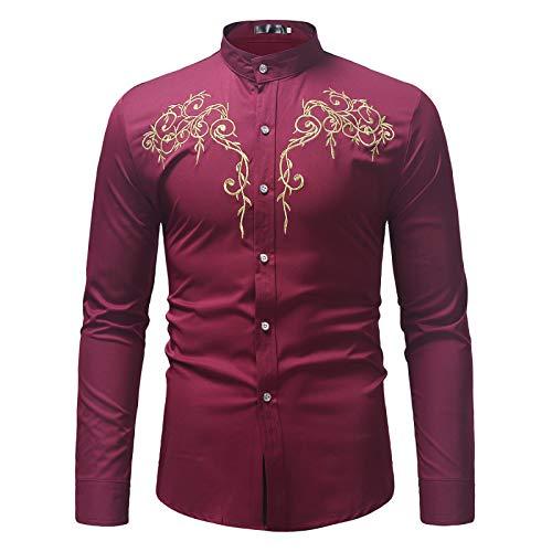 Camisas para Hombres Camisas de Vestir Florales Camisas de Manga Larga con Botones Estampados entallados para Trabajo de Oficina, Eventos Formales e Informales S