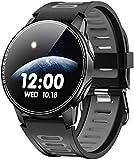 Reloj inteligente IP68resistente al agua con monitor de ritmo cardíaco, reloj inteligente para hombres y mujeres (color: gris)