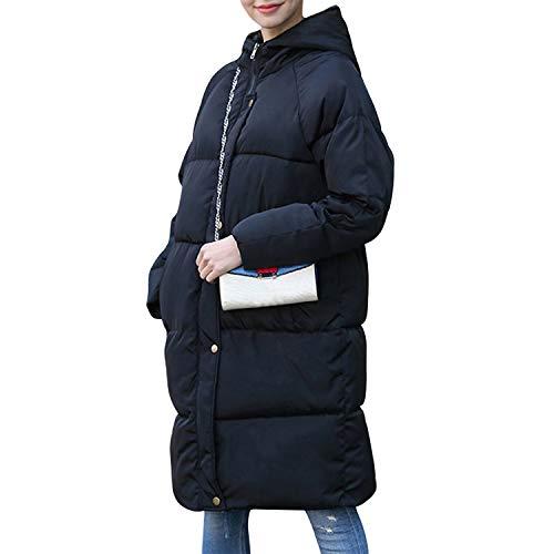 Petalum Damen Elegant Lange Daunenmantel Winterjacke mit Kapuze Frauen Puffer Jaket Jacke Groß Warme Hooded Down Steppjacke