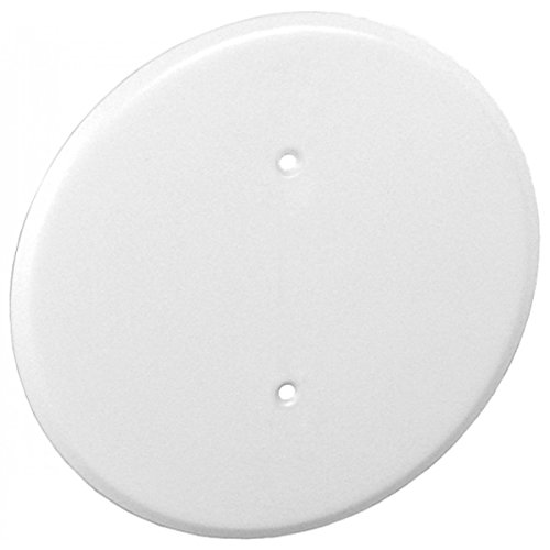1 Pc, 0.0276 Thick White Powder Coated Steel 8 In. Ceiling Blank-Up Cover, White, For Raised Ring Or 3-1/2 In. Round/Octagon Box For Oversize Box Openings Or Drywall & Plaster Imperfections
