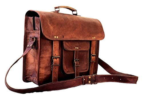 The Vintage Stuff Messenger Bag Genuine Leather Brown Briefcase Large Satchel Shoulder Bag Crossbody Laptop Computer Bag for Men & Women 16 Inch