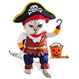 Funny Cat Pirate Costumes - Caribbean Style Pet Dressing up Cosplay Party Costume with Hat Small to Medium Dogs Cats Kitty Cute Fashion Prop Apparel for Halloween Christmas Party Accessories-S