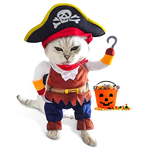Funny Cat Pirate Costumes - Caribbean Style Pet Dressing up Cosplay Party Costume with Hat Small to...