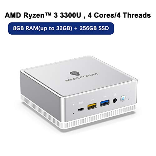 UM300 Mini PC AMD Ryzen 3 3300U Windows 10 Mini Computer, Upgradeable 8GB RAM+256GB SSD, HDMI/Mini DP/USB-C 4K@60Hz Output, 2X Ethernet Port, Support Chromium & Linux OS, PXE Boot and WOL