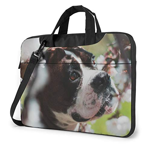 Bolsa de hombro para portátil, diseño de corazón y flores, a prueba de golpes, impermeable, para portátil, Perro para mascotas. (Azul) - 259841