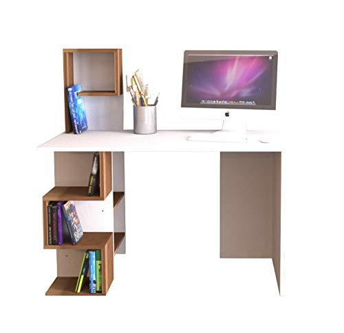HOMIDEA DERONI Bureau - Table pour Ordinateur avec étagère en Un Design Moderne (Blanc/Noyer (Opposite))