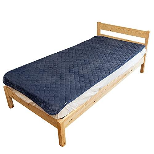 シルフィーズ リバーシブル 敷きパッド クイーン 160×205cm ネイビー フランネル タオル地 (パイル部綿100%) 両面使える オールシーズン ベッド 和布団 両方使える 洗える 丸洗い可