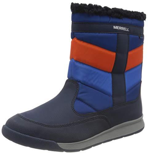 Merrell Alpine Puffer Boot WTRPF, Zapatillas para Caminar Unisex Niños, Azul Marino/Naranja, 31 EU
