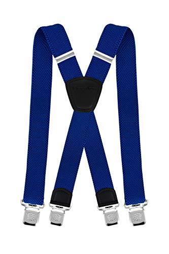 Decalen Hosenträger für Herren die Stärksten Hosenträger auf dem Markt Breite 4 cm mit 4 Metallclips Lange Einheitsgröße Verstellbare und Elastische X-Form für Alle Männer (Blau 2)