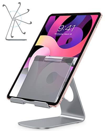 OMOTON Tablet Ständer, Tablet Stand, Verstellbare Tablet Halterung für Online-Kurse/Arbeit, Aluminium Tablet Halter kompatibel mit iPad Air 4/Mini, iPad 10.2/9.7 und andere Tab bis zu 12.9, Grau