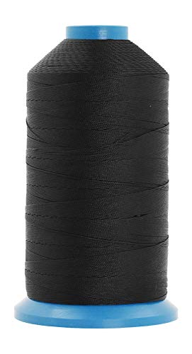 Mandala Crafts Bonded Nylon Thread for Sewing Leather, Upholstery, Jeans and Weaving Hair; Heavy-Duty (T135#138 420D/3, Black)