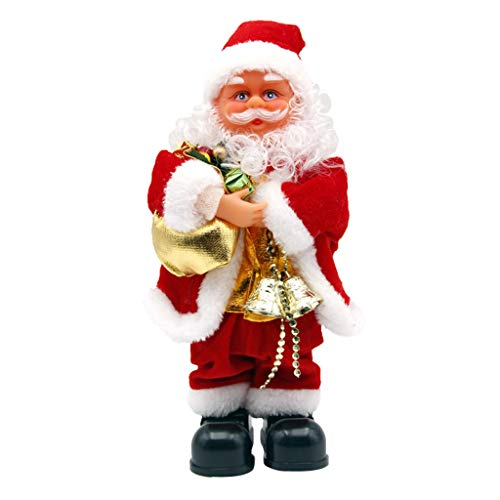 Hellery 27cm Tall Vintage Animated Musical Dancing Christmas Santa Claus Xmas Decor - D, as described