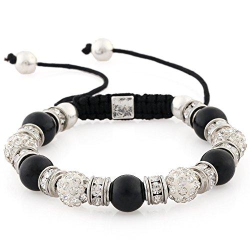 Morella Pulsera con Gemas y Piedras de circonita Strass de Color Plata-Negro, Ajustable, para Damas