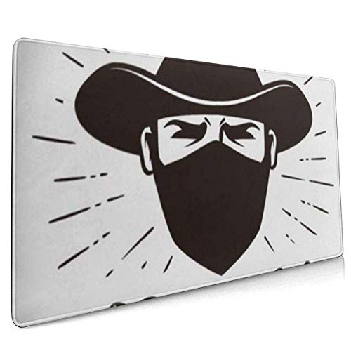 Mauspad, erweitertes Gaming-Mauspad , Verlängerte rutschfeste Mauspads Geeignet für Gamer, Büros, Lernräume usw. Bandana Angry Bandit Gangster Label Porträt eines Cowboys in Maskenbeschriftung Avatar