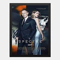 ハンギングペインティング - 007 スペクター OO7 SPECTRE 5のポスター 黒フォトフレーム、ファッション絵画、壁飾り、家族壁画装飾 サイズ:33x24cm(額縁を送る)