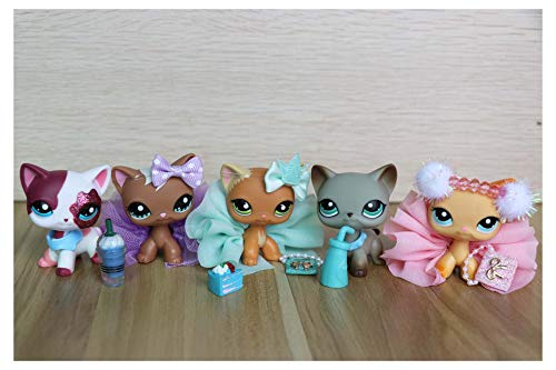 WOLFGIRL LPS Shorthair Cat Lot 1170 391 339 2291 525 Blue Eyes Kitten Kitty with Accessories Lot Kids Boys Girls Gift Set