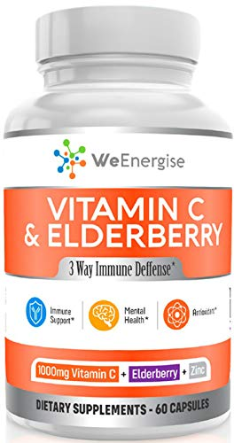 Vitamin C 1000mg & Elderbery Capsules - Highly Potent Vitamin C with Zinc and Elderberry for Immune Support - Easy to Swallow, Non-GMO, GMP-Certified VIT C 1000mg Immune Booster Capsules - 60 Count