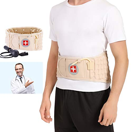 Decompression Lumbar Support Belt, Back Brace for Lower Back Pain Relief - Lumbar Air Traction Device for Women & Men to Stretch & Relieve Tight Lower Back Muscles - One Size for 29-49 inches Waists
