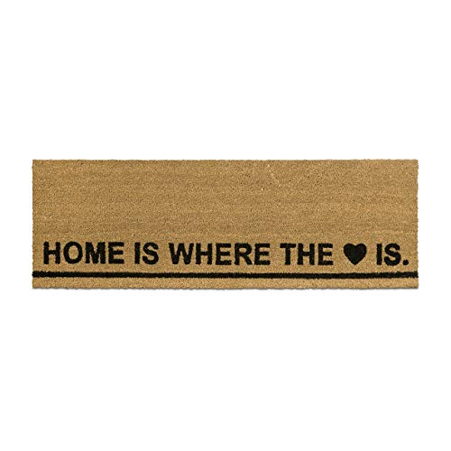 Relaxdays – Felpudo Extra Ancho para la Entrada del hogar, 1.5 x 40 x 120 cm, Fibra de Coco y PVC, Home IS Where The Heart IS, Antideslizante, Color marrón