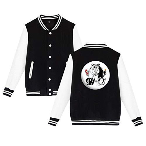 Lanmei Spy Vs Spy Unisex Hipster Baseball Uniform Jacket Sport Coat Black