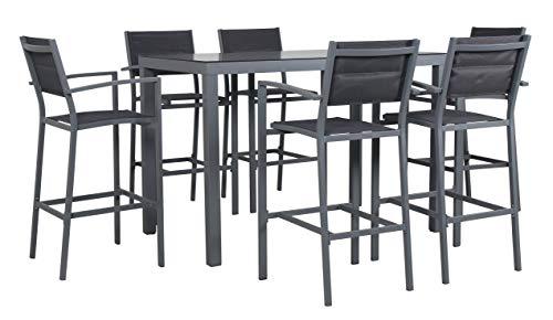 Pure Home & Garden 7-teilige Dining Bar Set Chicago, Aluminium, gepolstertes Textilen