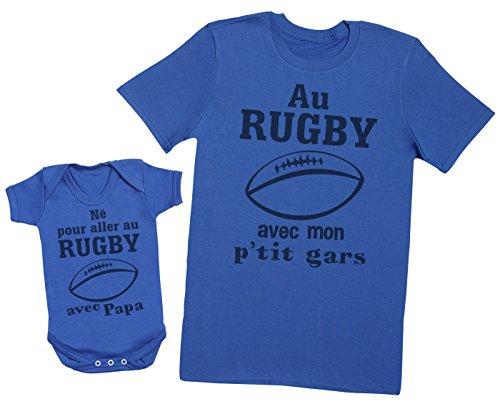Zarlivia Clothing Né pour Aller au Rugby avec Papa - Ensemble Père Bébé Cadeau - Hommes T-Shirt & Body bébé - Bleu - XL & 3-6 Mois