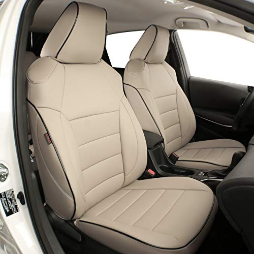 EKR Custom Fit Full Set Car Seat Covers for Select Toyota RAV4 2019 2020 2021(Not for Hybrid) - Leatherette (Beige)