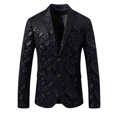 SuiSional Men's Luxury Dress Slim Fit Tuxedo Suit Jacket Stylish Blazer,Black4XL